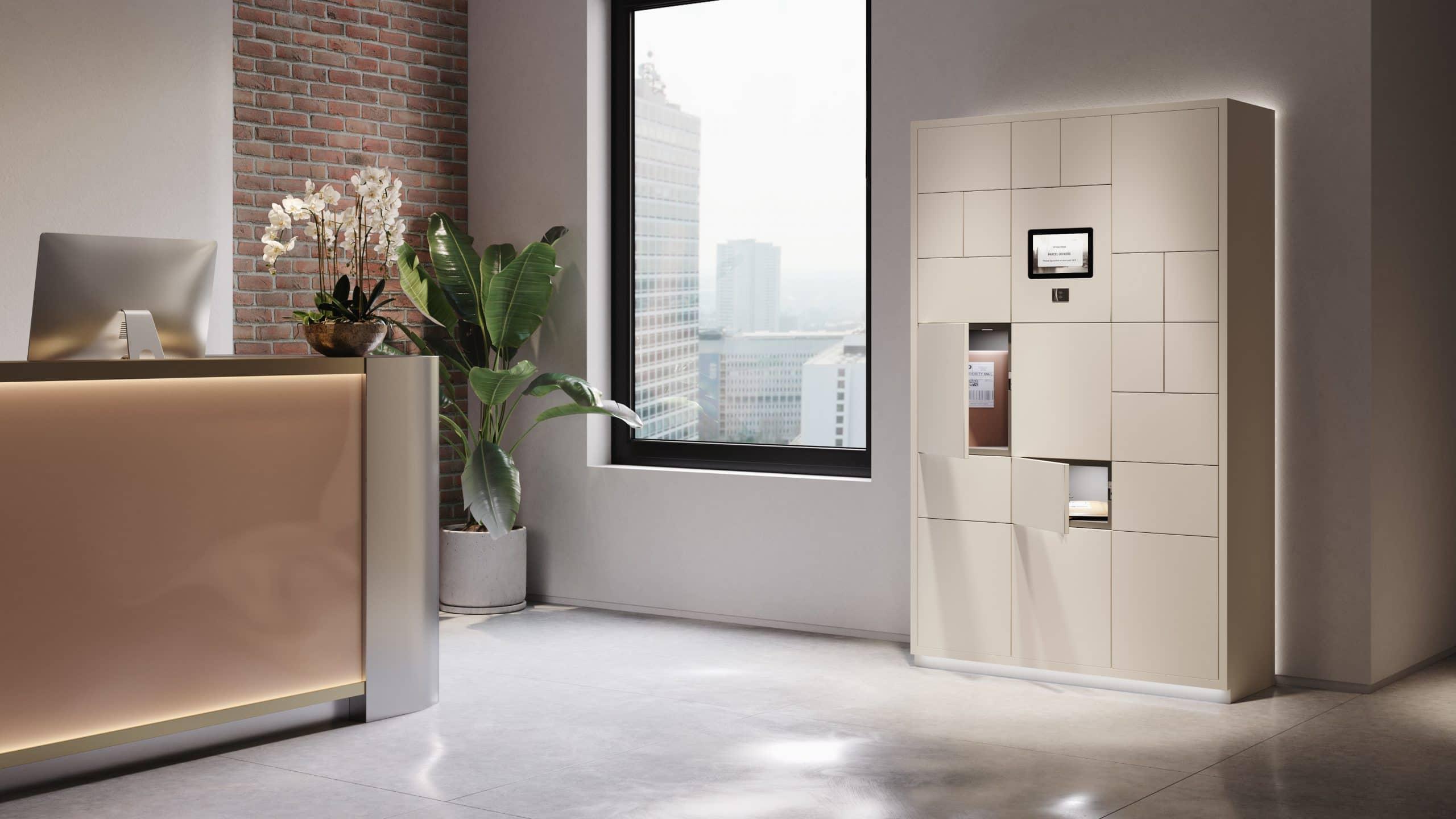 Zodiac touch screen parcel locker in modern reception area