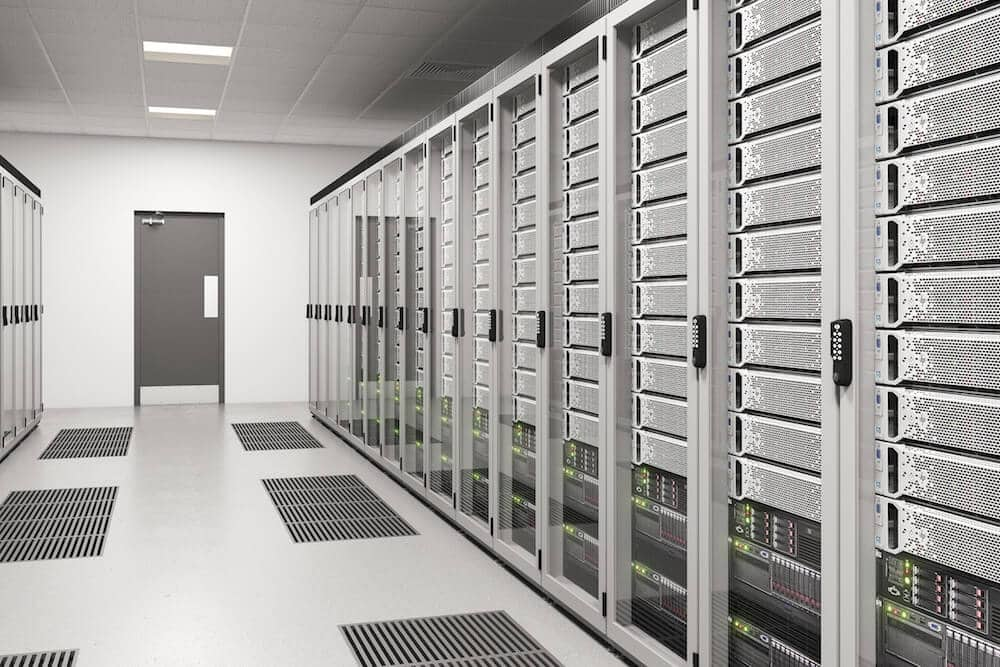 Nimbus digital combination locks installed on server access doors in a modern plant