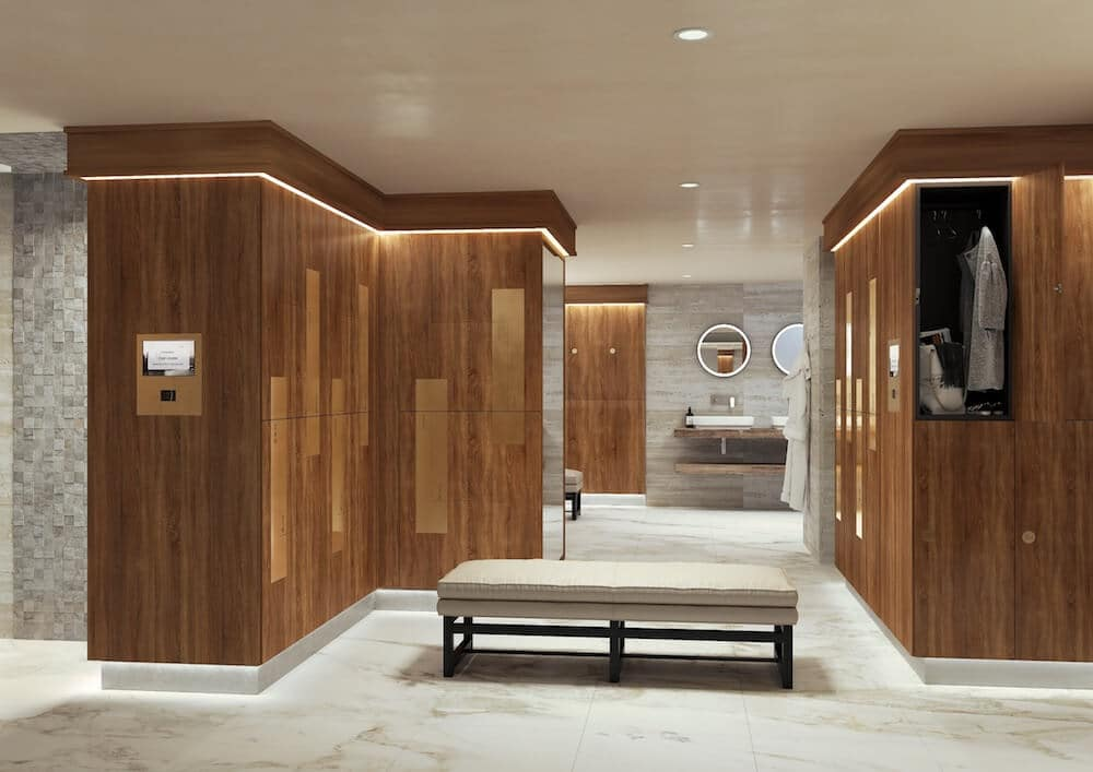 Smart lockers with the Zodiac touchscreen system in changing rooms at a premium leisure location